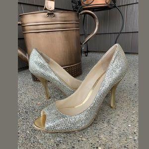 NINE WEST Sorbet Gold Silver Glitter Peep Toe Pump